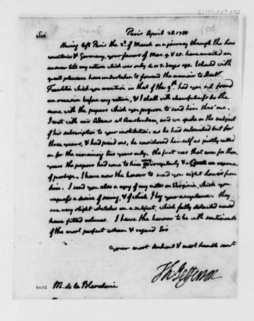 Thomas Jefferson to C. P. C. La Blancherie, April 28, 1788