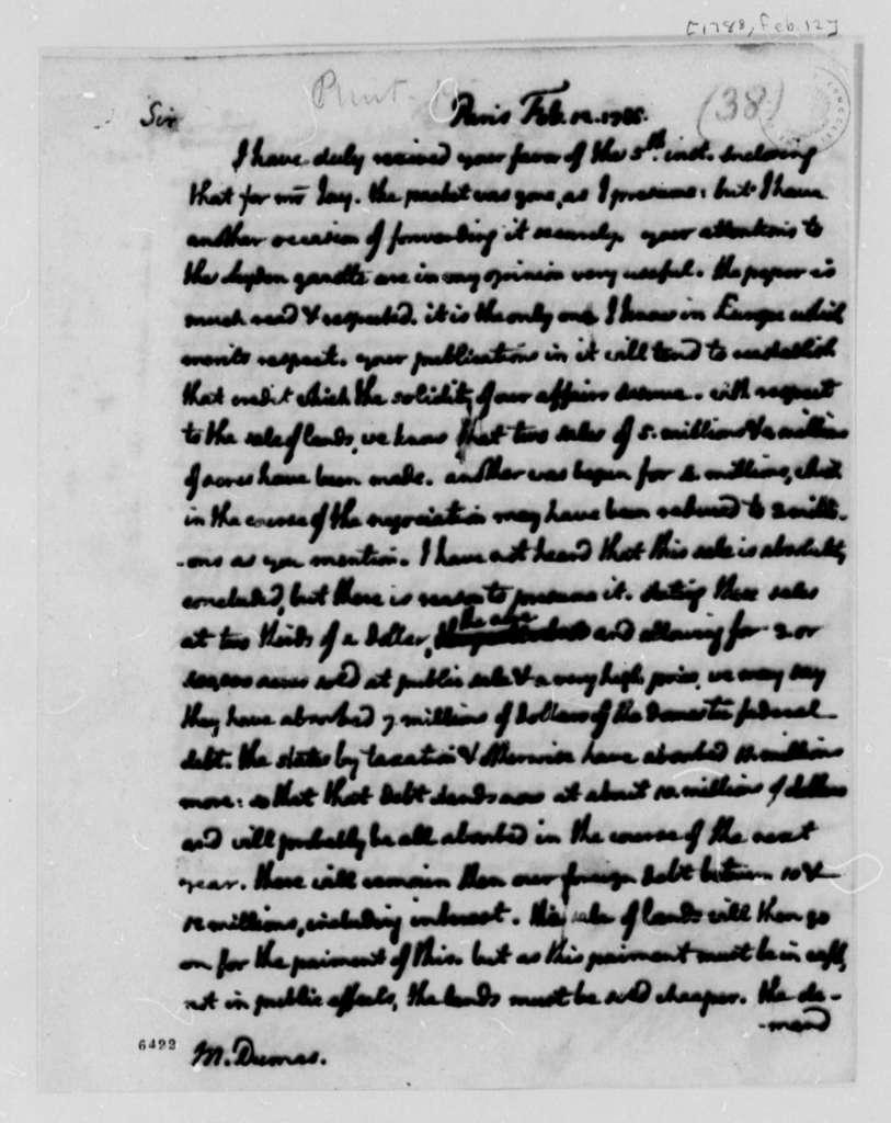 Thomas Jefferson to Charles William Frederic Dumas, February 12, 1788