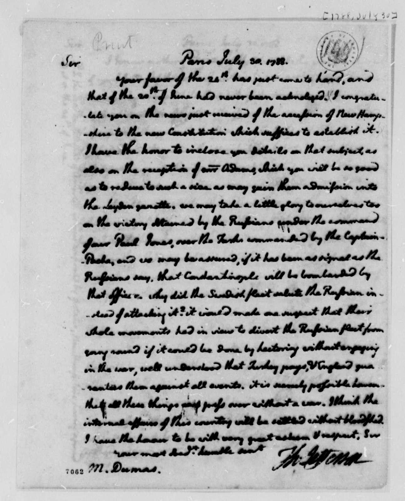 Thomas Jefferson to Charles William Frederic Dumas, July 30, 1788