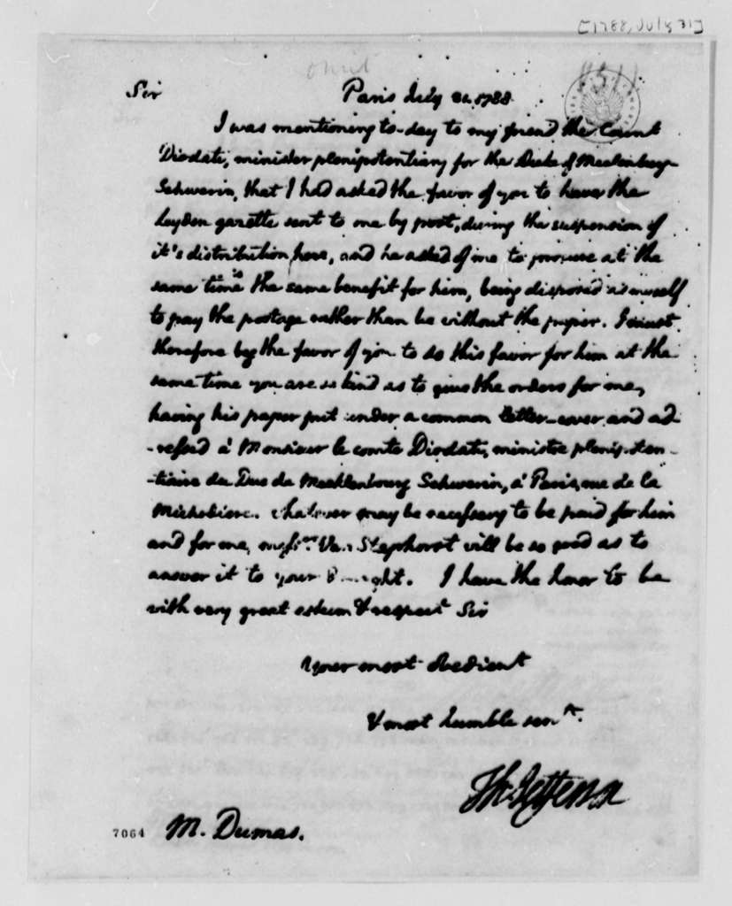 Thomas Jefferson to Charles William Frederic Dumas, July 31, 1788