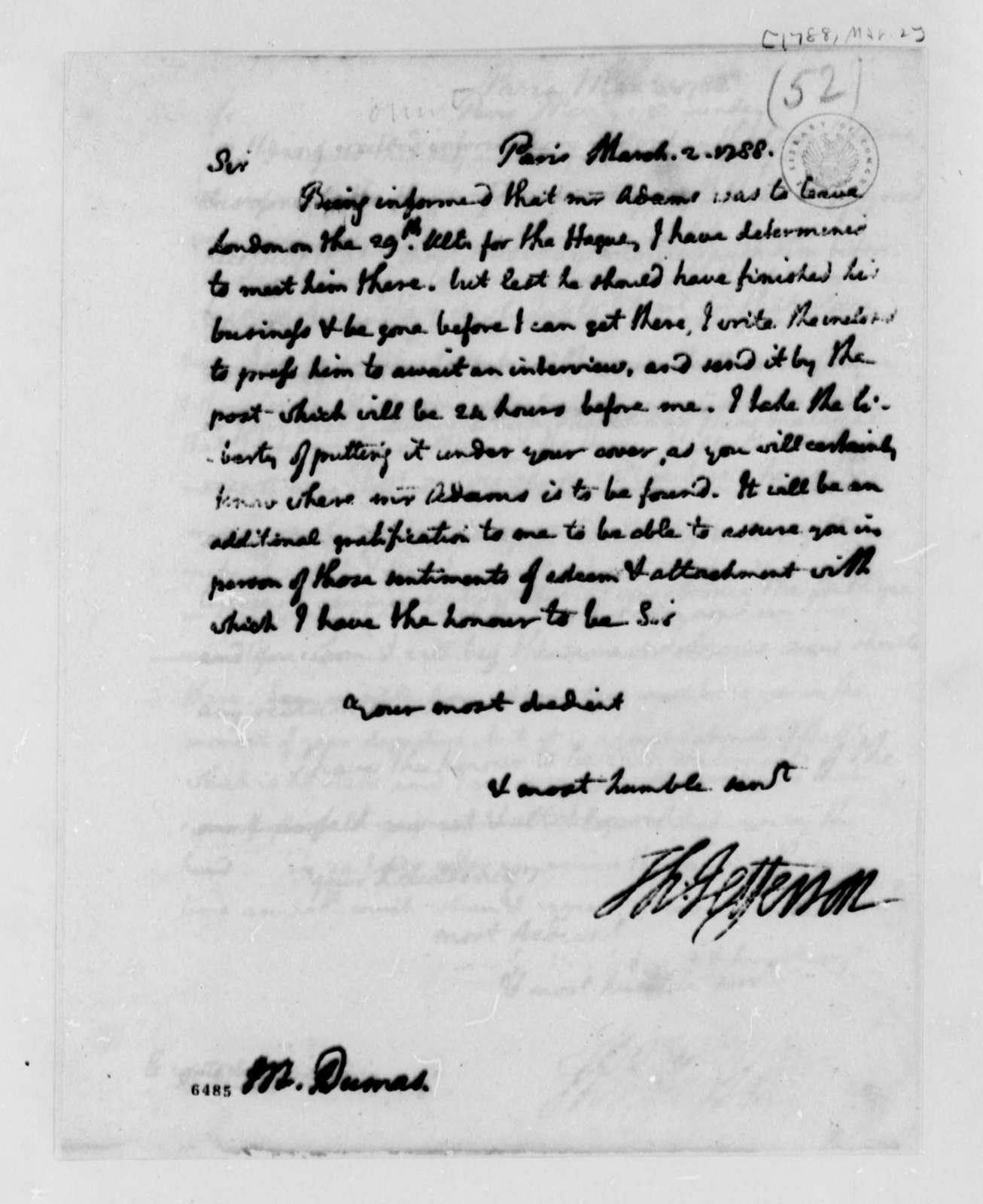 Thomas Jefferson to Charles William Frederic Dumas, March 2, 1788