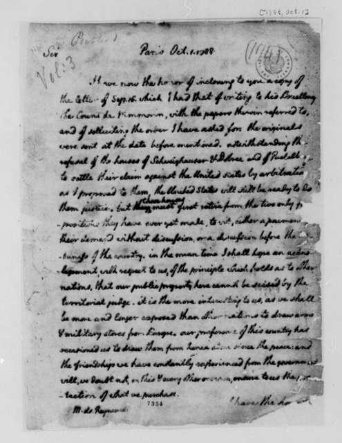 Thomas Jefferson to Conrad Alexandre Gerard de Rayneval, October 1, 1788