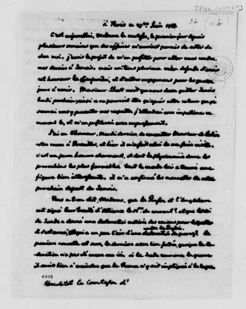 Thomas Jefferson to Countess d'Houdetot, June 27, 1788, in French