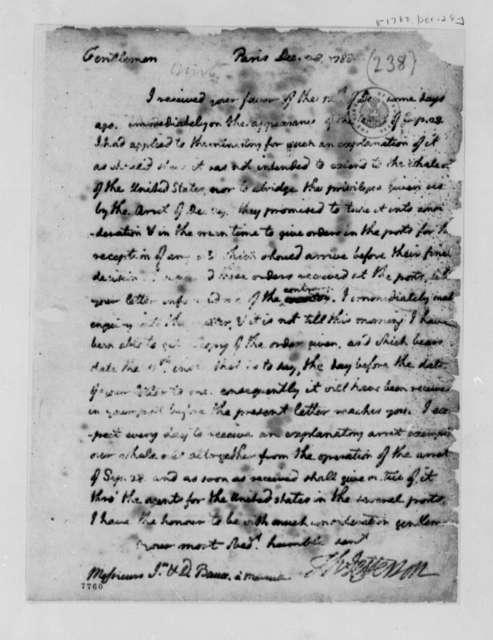 Thomas Jefferson to David and Jean Baux, December 28, 1788