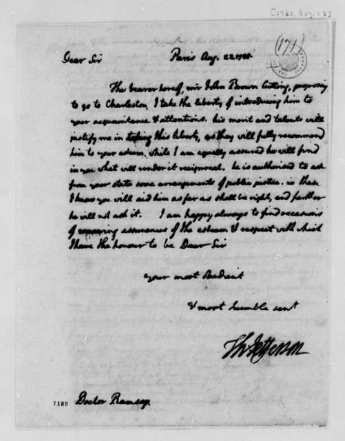 Thomas Jefferson to David Ramsay, August 23, 1788
