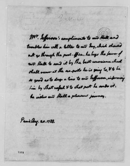 Thomas Jefferson to Edward Hall Jr., August 20, 1788