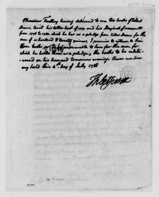 Thomas Jefferson to Foulloy, July 4, 1788, Receipt for Silas Deane's Books