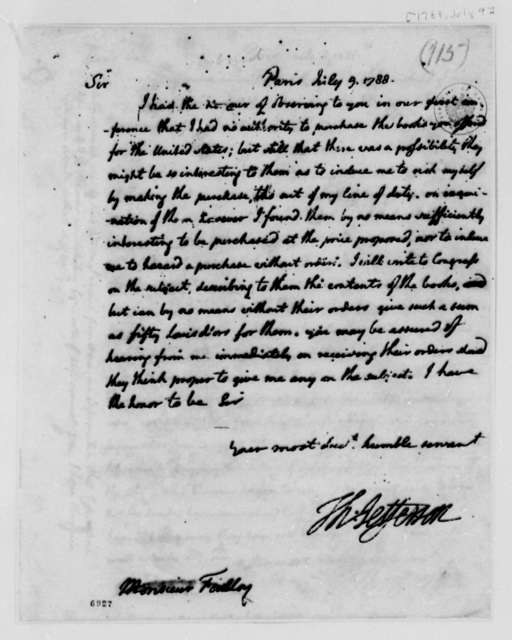 Thomas Jefferson to Foulloy, July 9, 1788, Silas Deane's Books