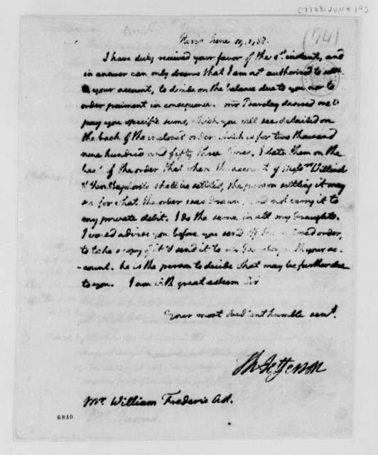 Thomas Jefferson to Frederick William Ast, June 19, 1788, Sent with Payment Order to Wilhelm Willink, et al, same date
