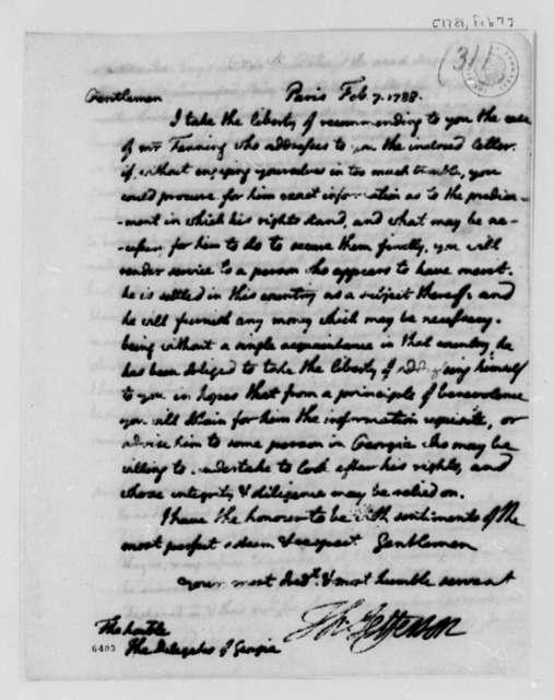Thomas Jefferson to Georgia Delegates in Congress, February 7, 1788