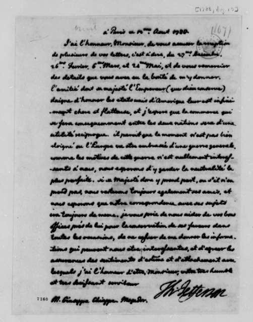 Thomas Jefferson to Guiseppe Chiappe, August 13, 1788, in French