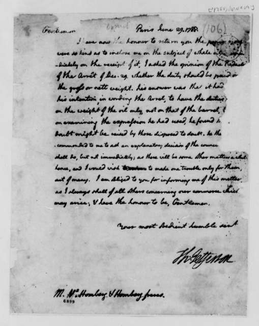 Thomas Jefferson to Homberg & Homberg Freres, June 29, 1788, Arret on Whale Oil; Incomplete