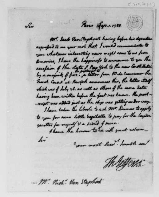 Thomas Jefferson to Jacob van Staphorst, September 1, 1788