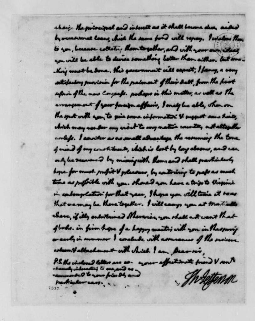 Thomas Jefferson to James Madison, November 18, 1788, Sent with Two Plans for Funding Foreign Debt