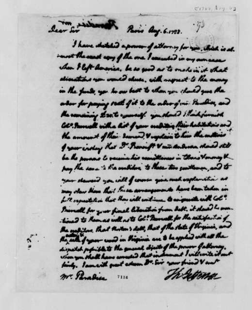 Thomas Jefferson to John Paradise, August 6, 1788, Sent with Draft of Power of Attorney