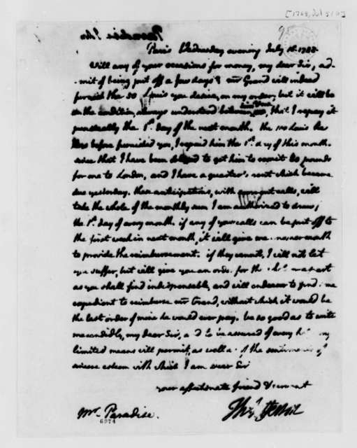 Thomas Jefferson to John Paradise, July 16, 1788