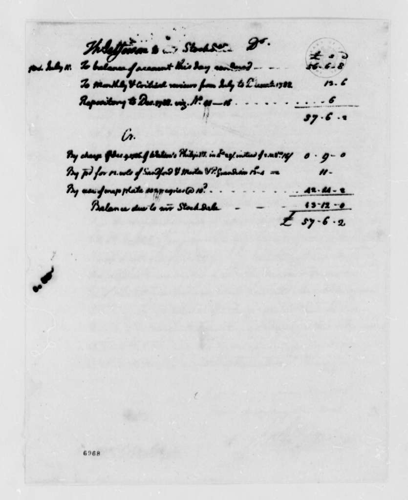 Thomas Jefferson to John Stockdale, July 16, 1788, with Financial Account