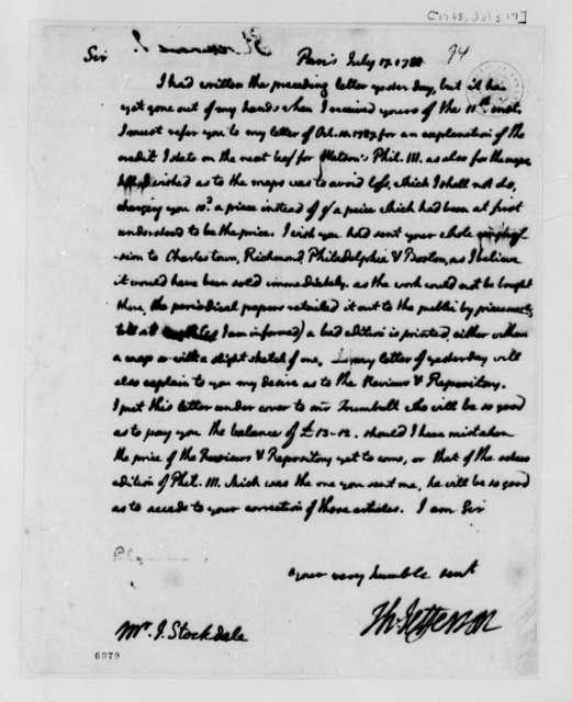 Thomas Jefferson to John Stockdale, July 17, 1788