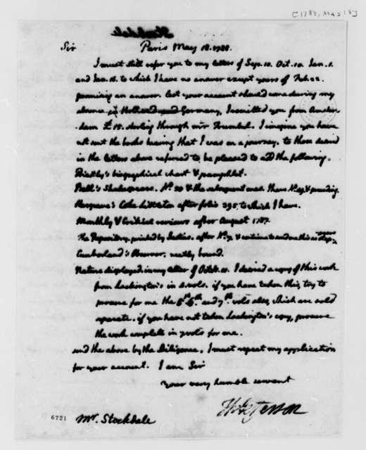 Thomas Jefferson to John Stockdale, May 18, 1788
