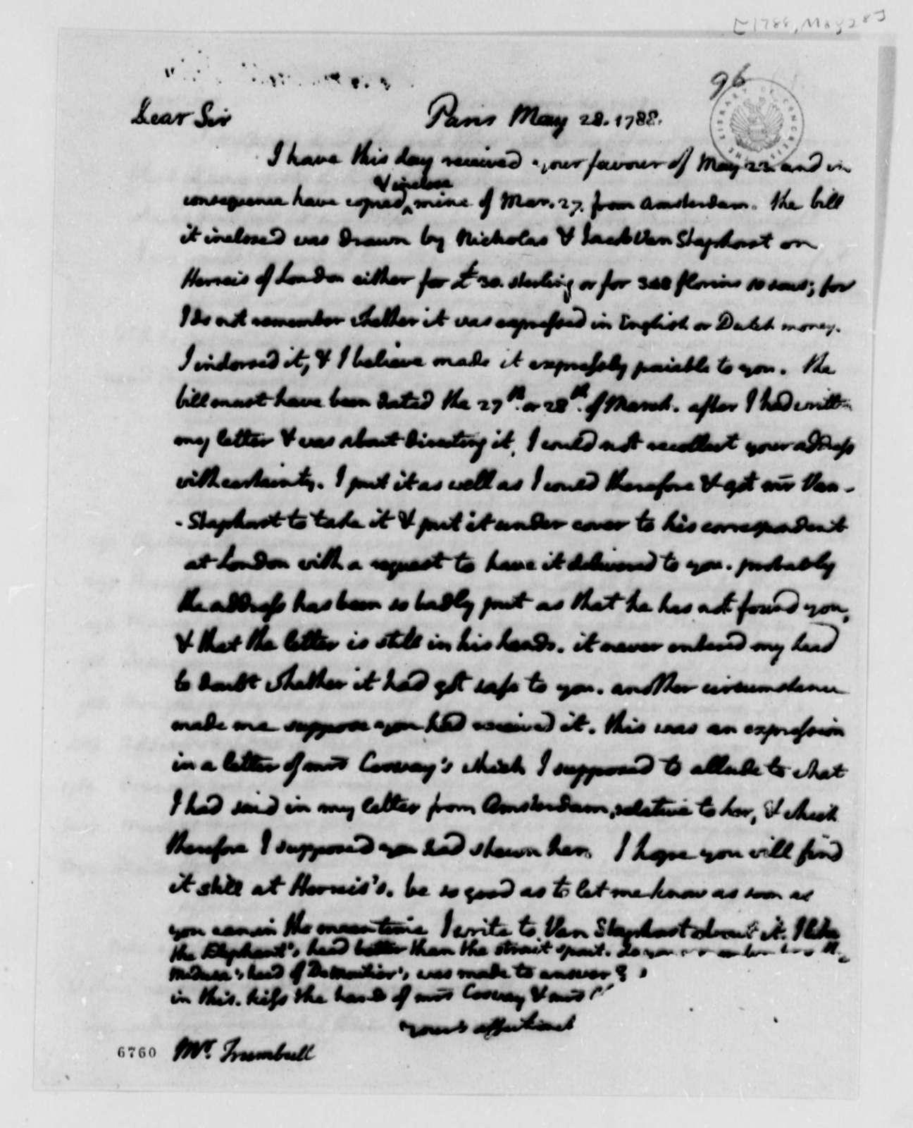 Thomas Jefferson to John Trumbull, May 28, 1788