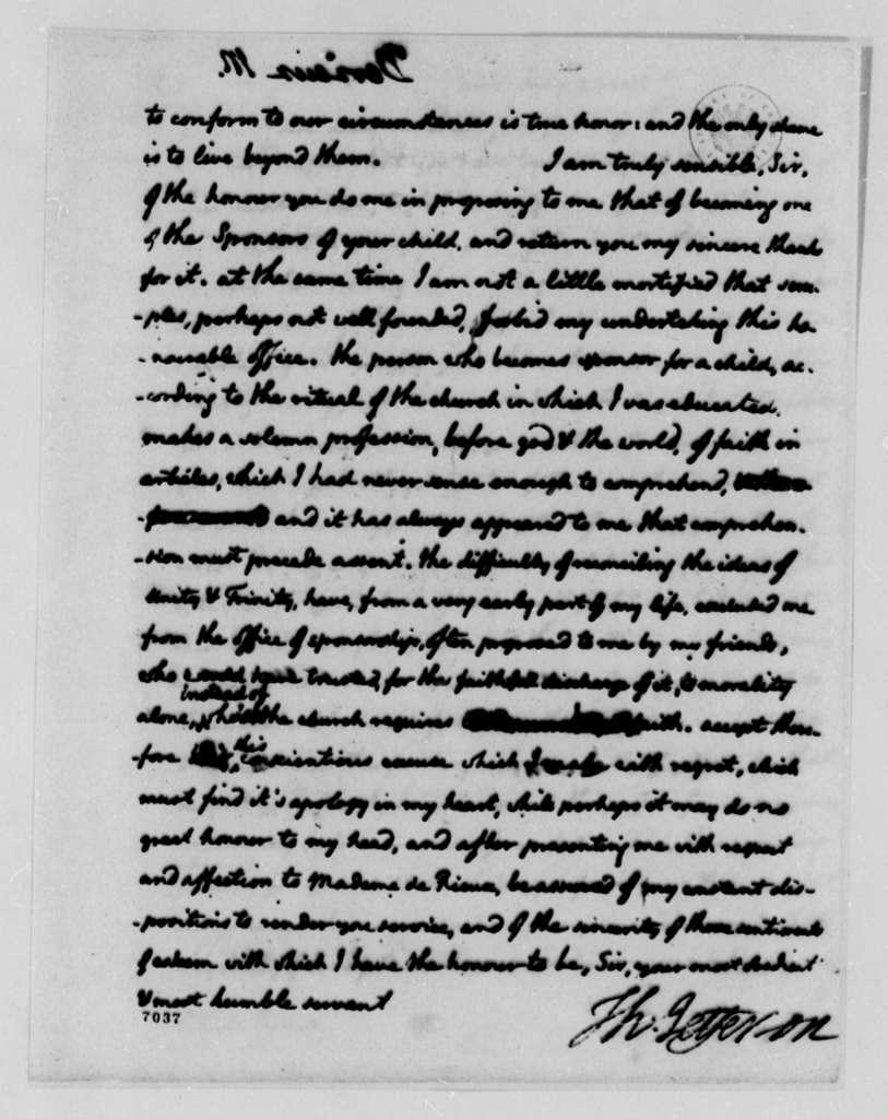 Thomas Jefferson to Justin Pierre Plumard Derieux, July 25, 1788