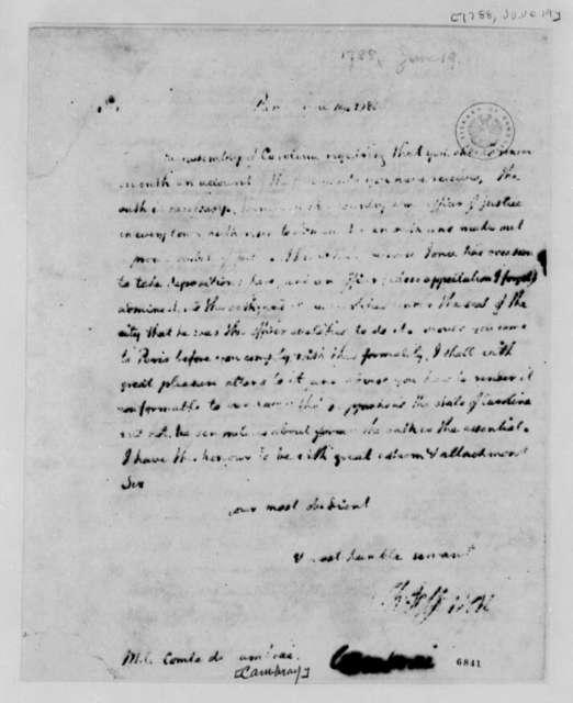 Thomas Jefferson to Louis Antoine Jean B., Chevalier de Cambray-Digby, June 19, 1788