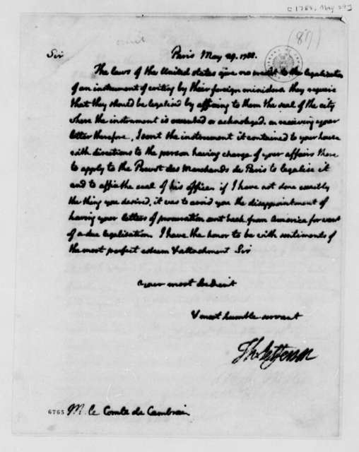 Thomas Jefferson to Louis Antoine Jean B., Chevalier de Cambray-Digby, May 29, 1788