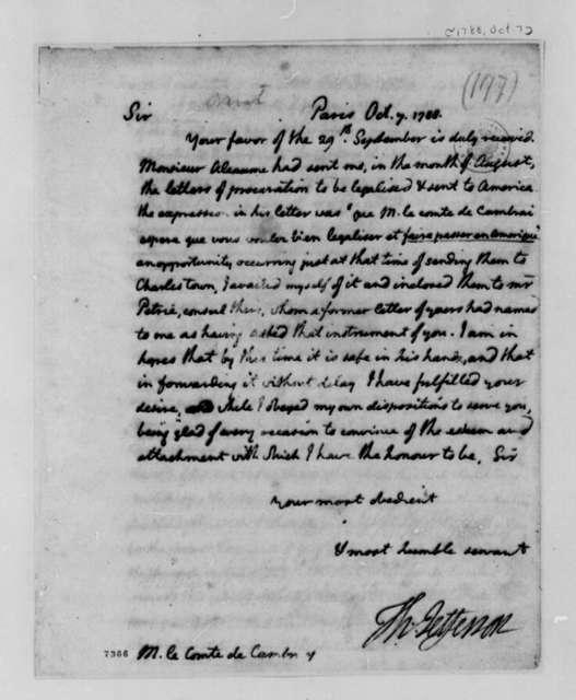 Thomas Jefferson to Louis Antoine Jean B., Chevalier de Cambray-Digby, October 7, 1788