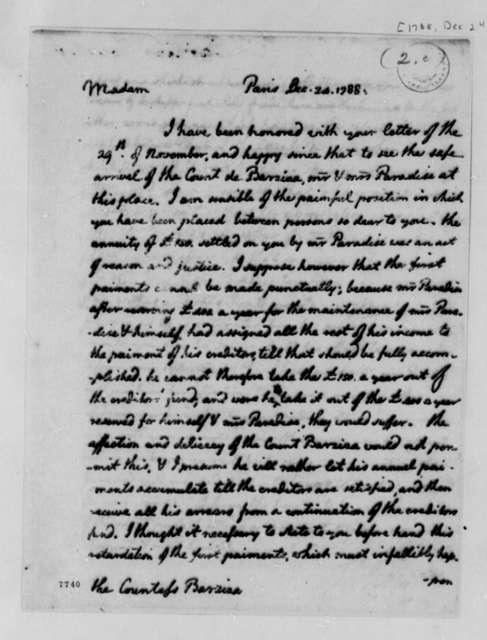 Thomas Jefferson to Lucy Barziza, December 24, 1788