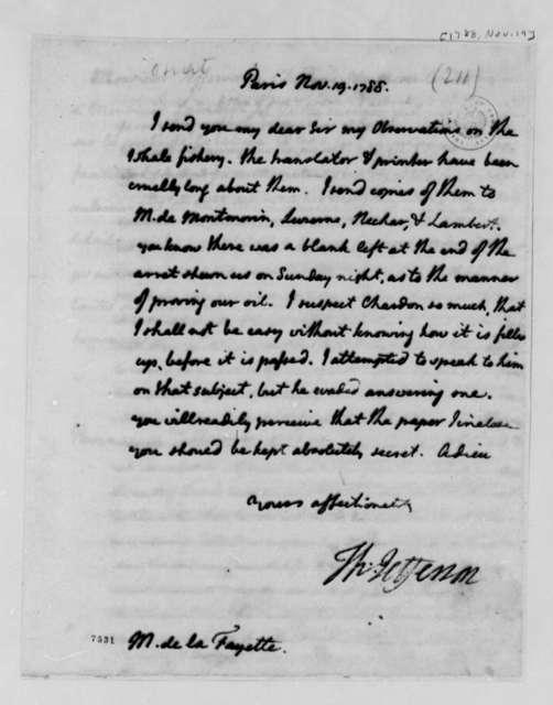 Thomas Jefferson to Marie Joseph Paul Yves Roch Gilbert du Motier, Marquis de Lafayette, November 19, 1788
