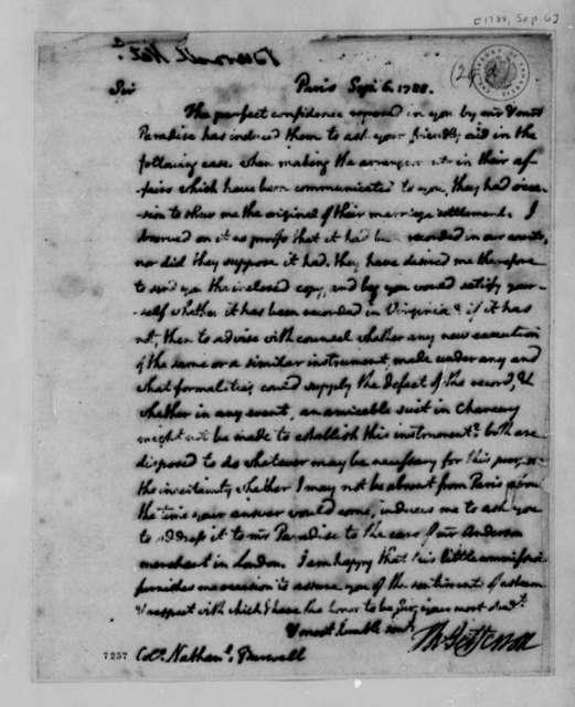 Thomas Jefferson to Nathaniel Burwell, September 6, 1788