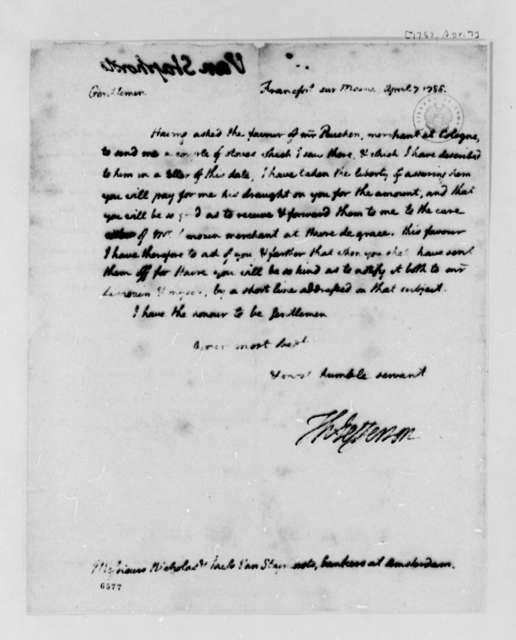 Thomas Jefferson to Nicholas and Jacob van Staphorst, April 7, 1788