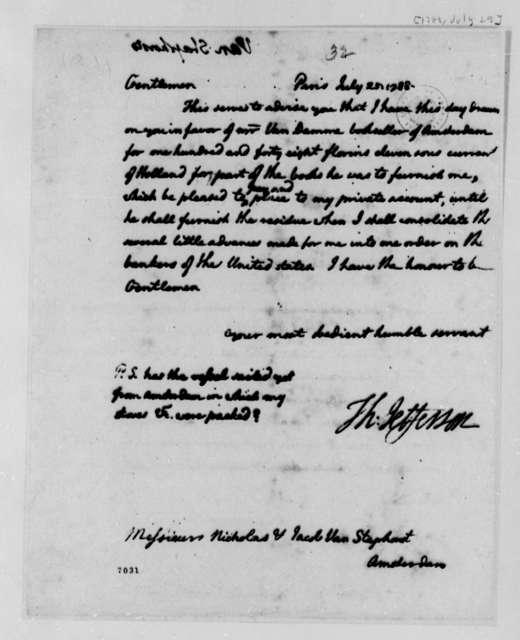 Thomas Jefferson to Nicholas and Jacob van Staphorst, July 25, 1788