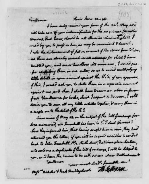 Thomas Jefferson to Nicholas and Jacob van Staphorst, June 22, 1788