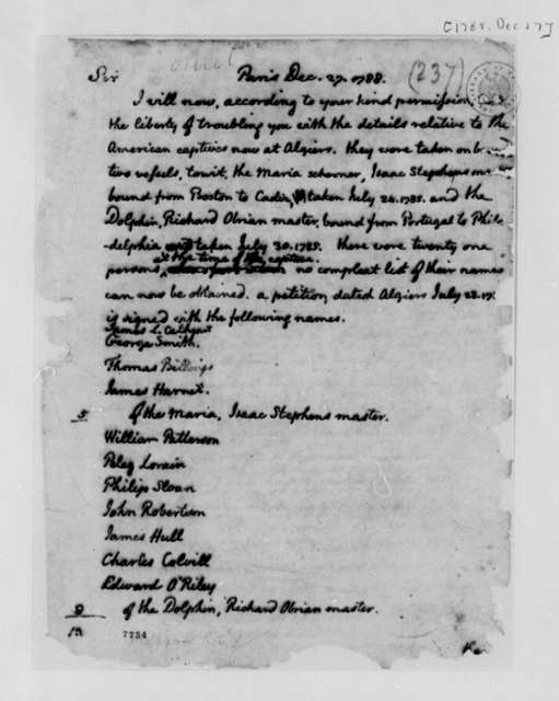Thomas Jefferson to Pere Chauvier, December 27, 1788, American Captives at Algiers