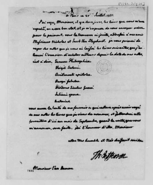 Thomas Jefferson to Pieter Van Damme, July 25, 1788, in French