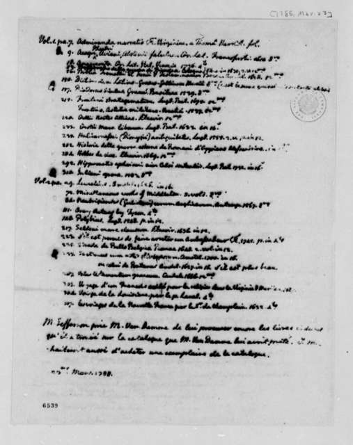 Thomas Jefferson to Pieter van Damme, March 23, 1788, in French