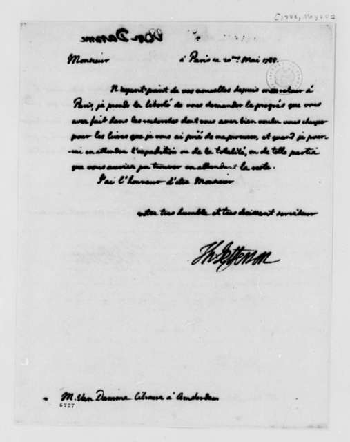 Thomas Jefferson to Pieter van Damme, May 20, 1788, in French