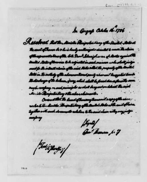 Thomas Jefferson to Schweighauser & Dobree, July 20, 1788, with Resolution of October 16, 1786, Authorizing Settlement of Account Against the Alliance (frigate)