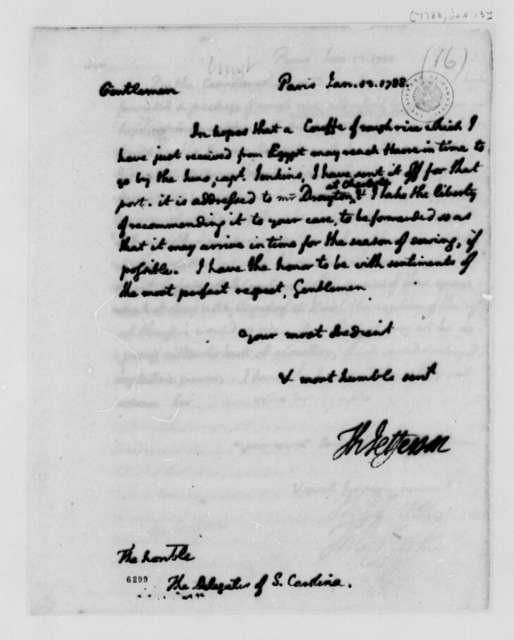 Thomas Jefferson to South Carolina Delegates in Congress, January 13, 1788