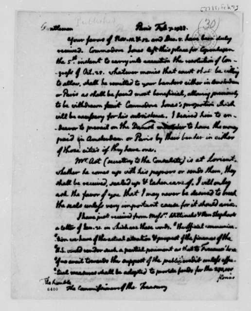Thomas Jefferson to Treasury Board, February 7, 1788