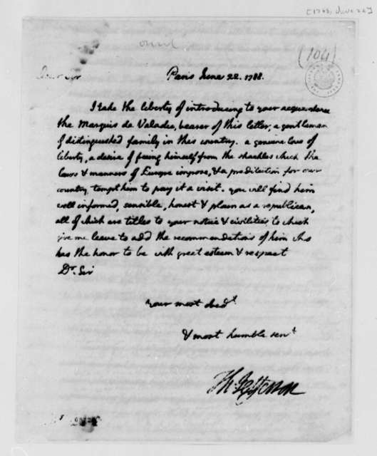 Thomas Jefferson to Unknown, June 22, 1788, Letter of Introduction for Marquis de Valadie