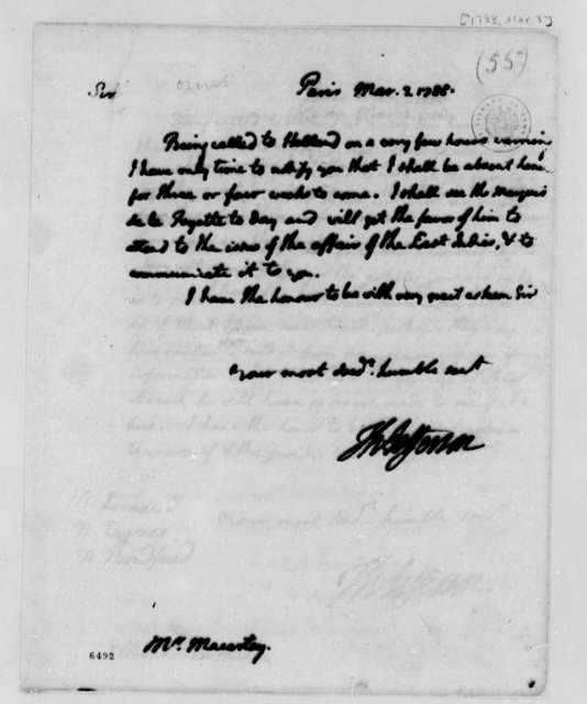 Thomas Jefferson to William Macarty, March 3, 1788