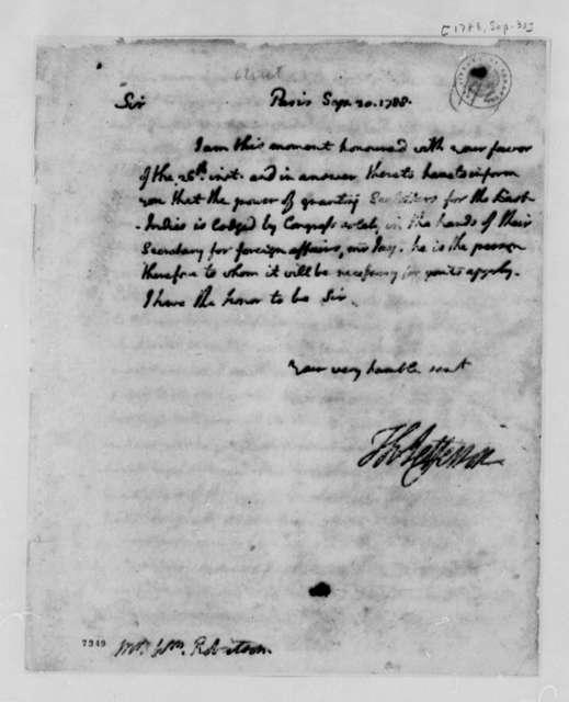 Thomas Jefferson to William Robertson, September 30, 1788