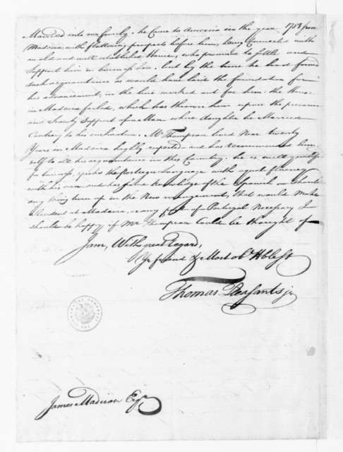 Thomas Pleasants Jr. to James Madison, July 25, 1788. with Answers to Queries on Commerce with France.