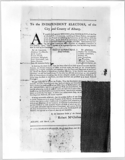 To the independent electors, of the City and County of Albany. At a public and general meeting of the Federalists of the City of Albany, a committee, consisting of fifteen persons was appointed for the purpose of collecting the sentiments of the
