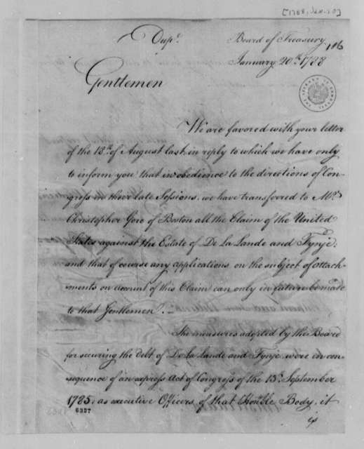 Treasury Board to Wilhelm Willink, et al, January 20, 1788