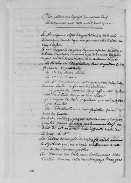 United States Commerce and Trade, 1788, Observations on New Tariff; in French