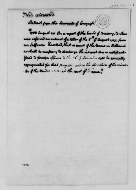United States Congress, August 20, 1788, Extract of Resolution on Loans from Holland