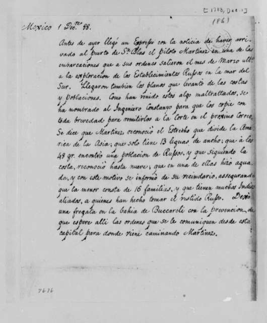 Unknown, December 1, 1788, Mexican Expedition to Explore Russian Settlements along Pacific Ocean; in Spanish